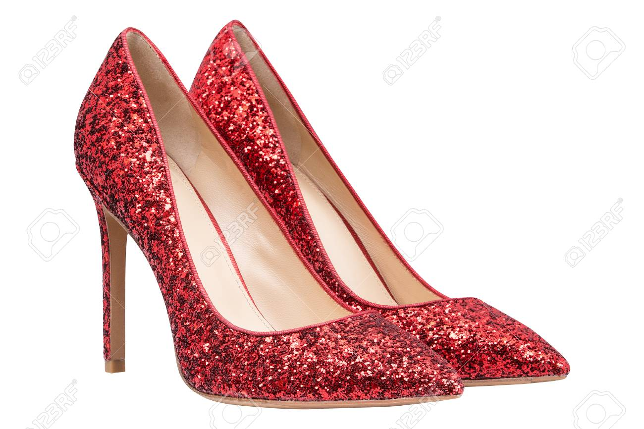 Women Red Shoes With Glitter, Isolated