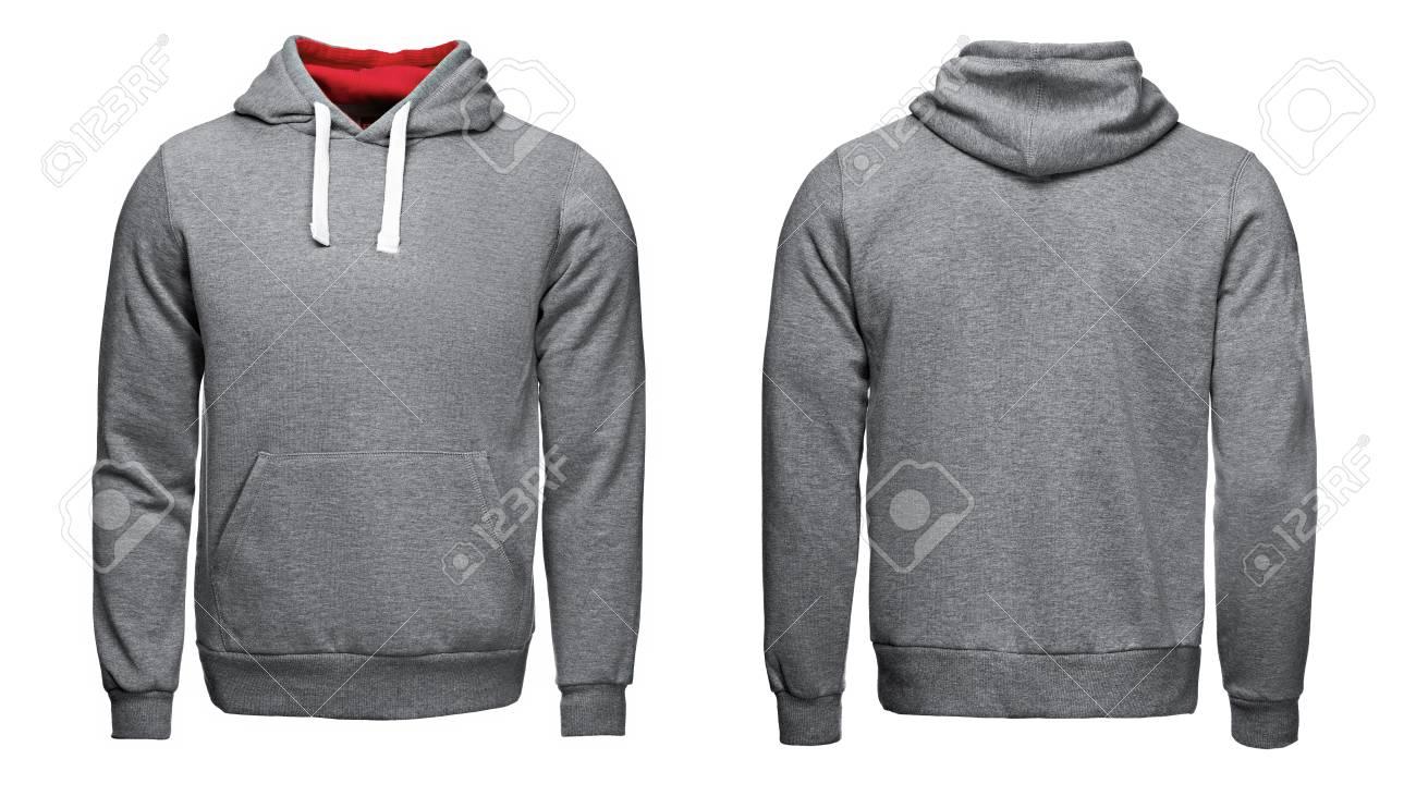 gray hoodie, sweatshirt mockup, on white background - 80782288