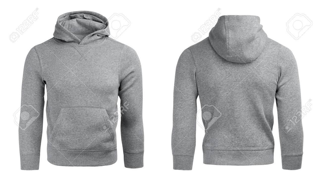 Gray Hoodie, Sweatshirt Mockup, On White Background Stock Photo ...