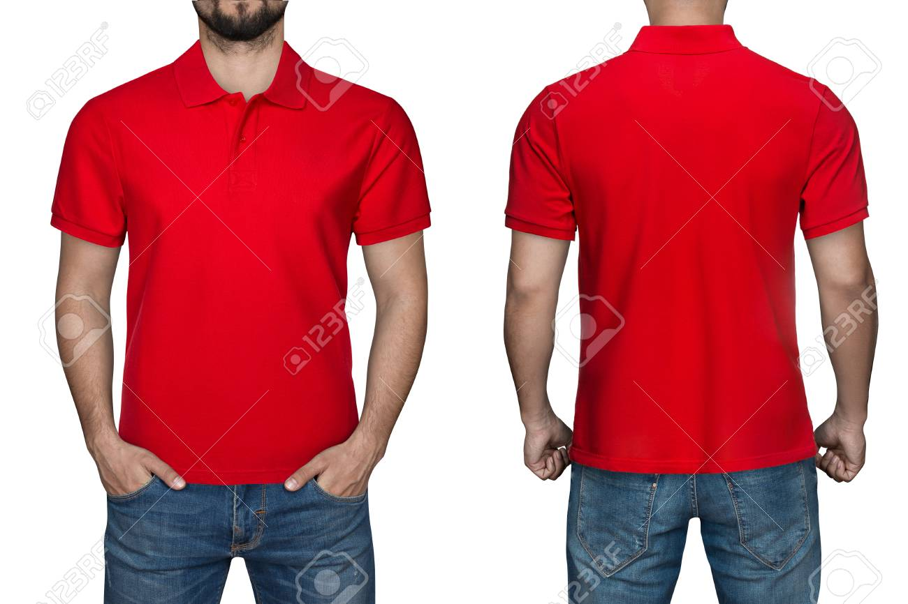 Men In Blank Red Polo Shirt Front And Back View Isolated White