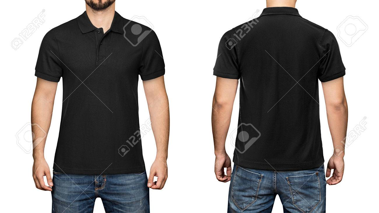 e9dc5bd9 men in blank black polo shirt, front and back view, isolated white  background.