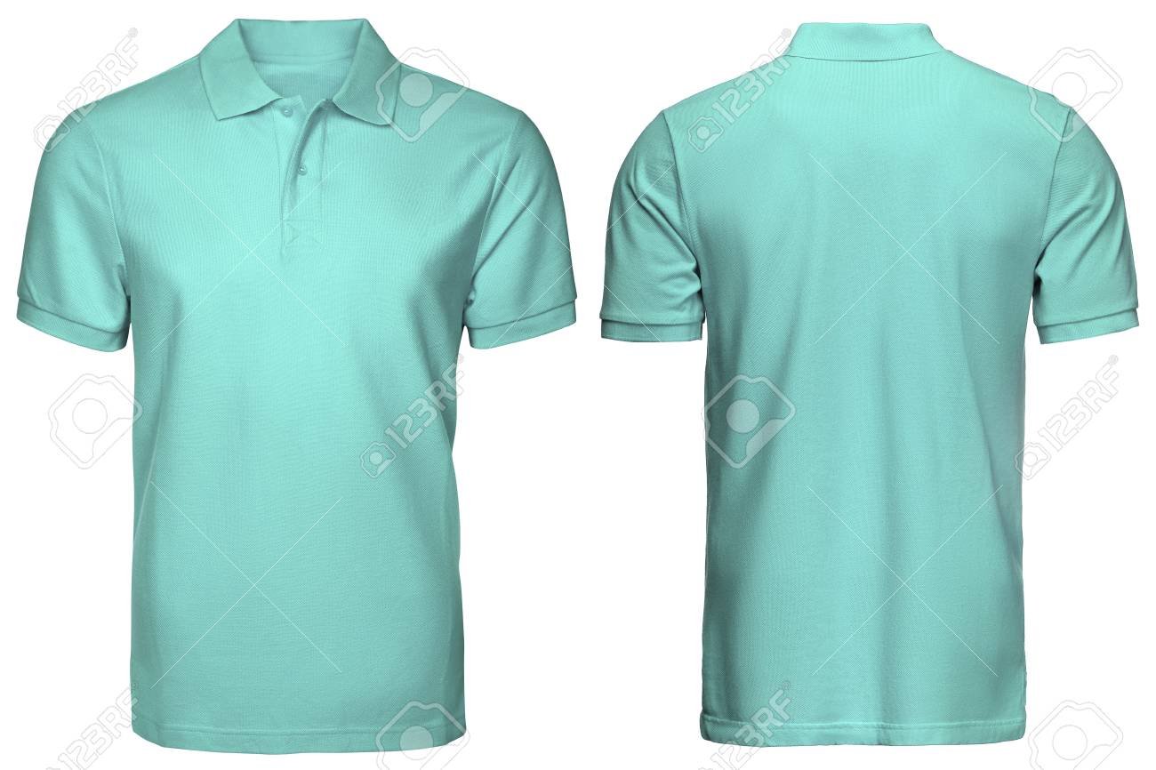 Blank Turquoise Polo Shirt Front And Back View Isolated White