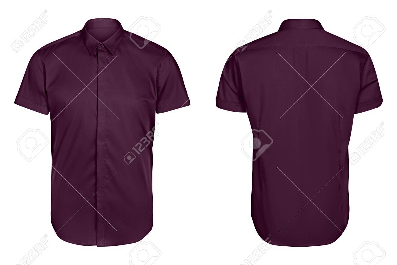 8906db67a8b Camisa violeta para hombre clásica manga corta fondo blanco aislado Foto de  archivo - 84394325