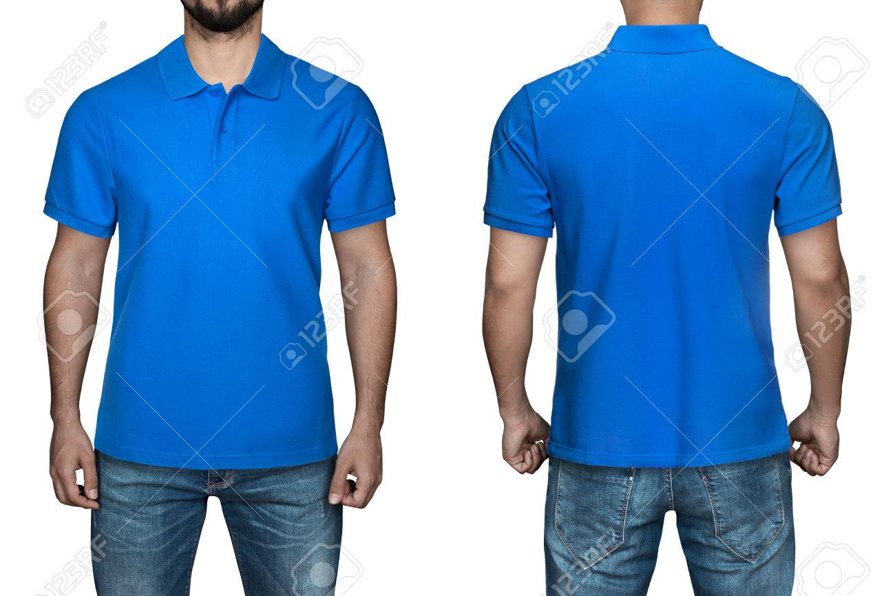 Men In Blank Blue Polo Shirt Front And Back View Isolated White