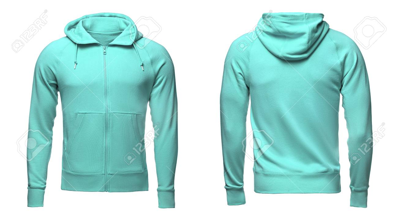 Blank Turquoise Male Hoodie Sweatshirt With Clipping Path, Mens ...