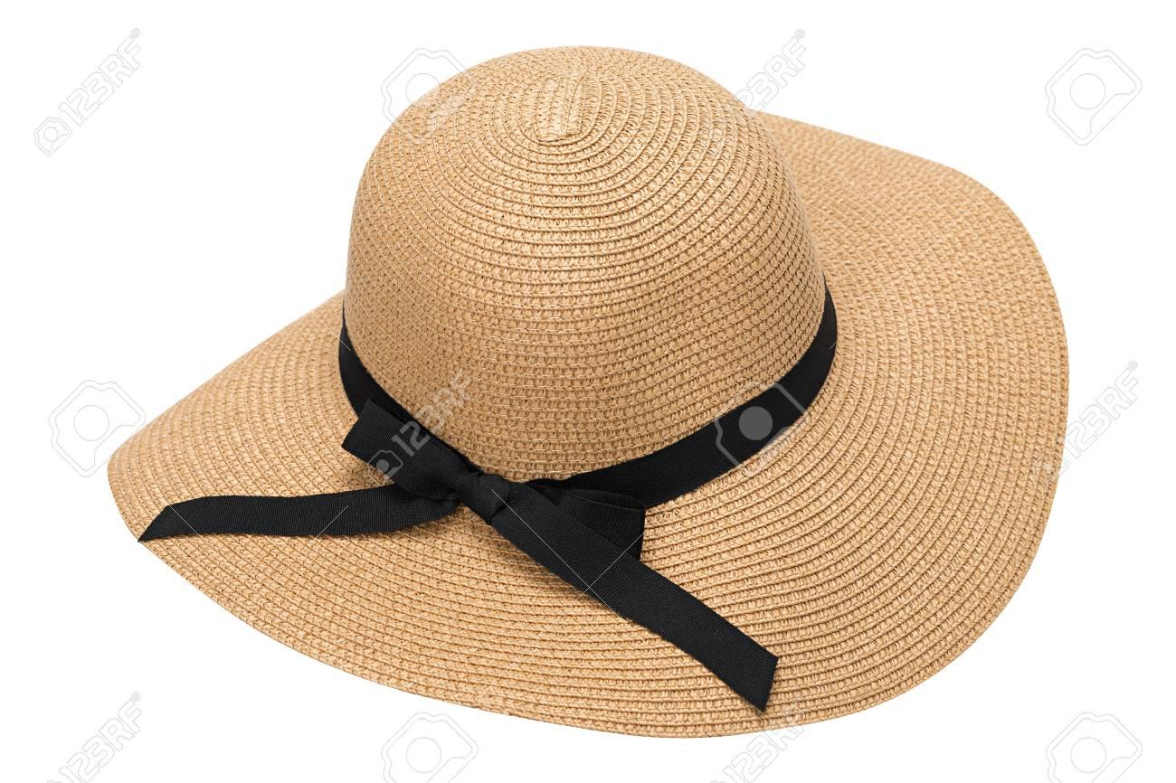 massimo stile quantità limitata fornitore ufficiale Cappello di paglia giallo estate femminile con il nastro, isolato su sfondo  bianco