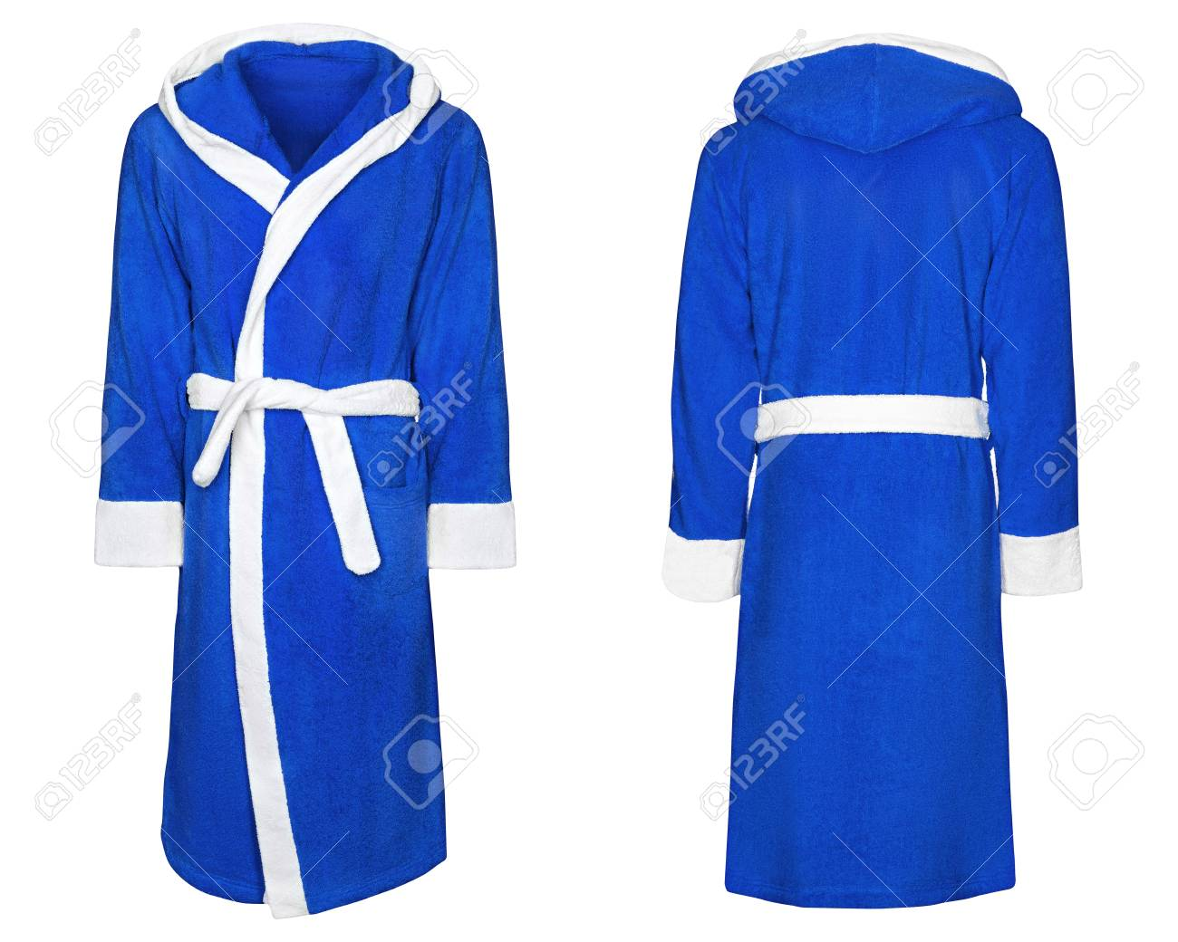 Blue Bathrobe For Home Isolated White Background With Clipping Stock Photo Picture And Royalty Free Image Image 90083875