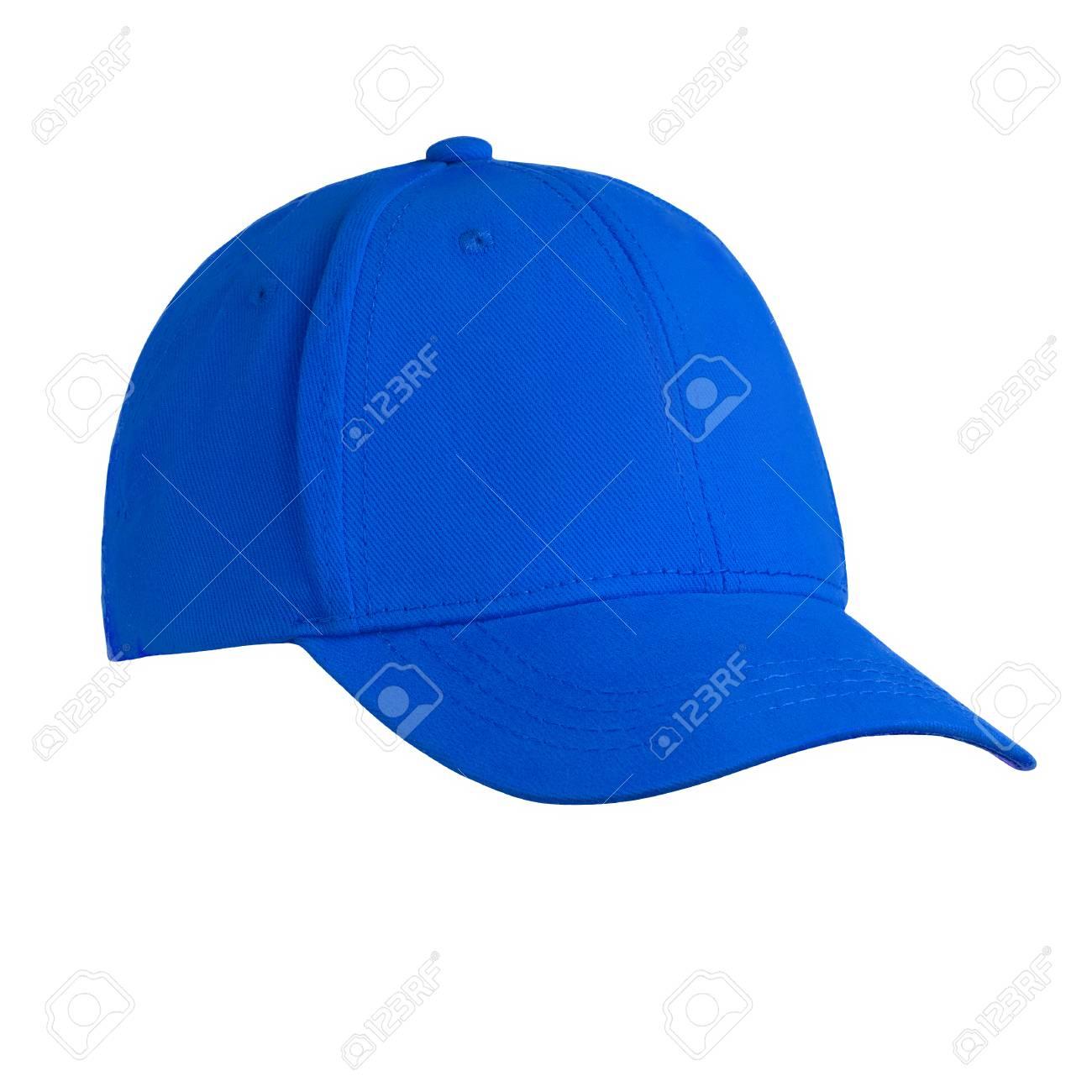 Foto de archivo - Plantilla para su diseño de gorra de béisbol azul en  blanco aislado sobre fondo blanco con trazado de recorte 4d189604c94
