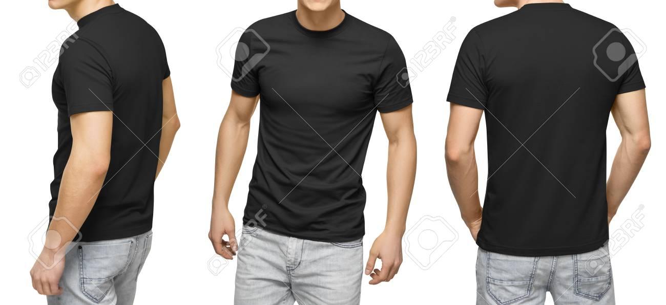 black t shirt front and back mockup