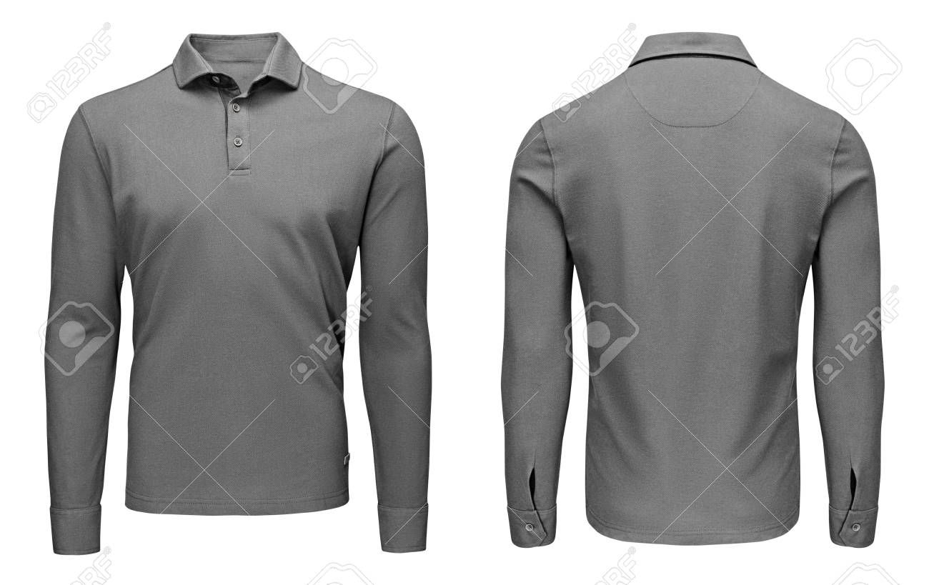 36ead733fd290 Blank template mens grey polo shirt long sleeve, front and back view,  isolated on