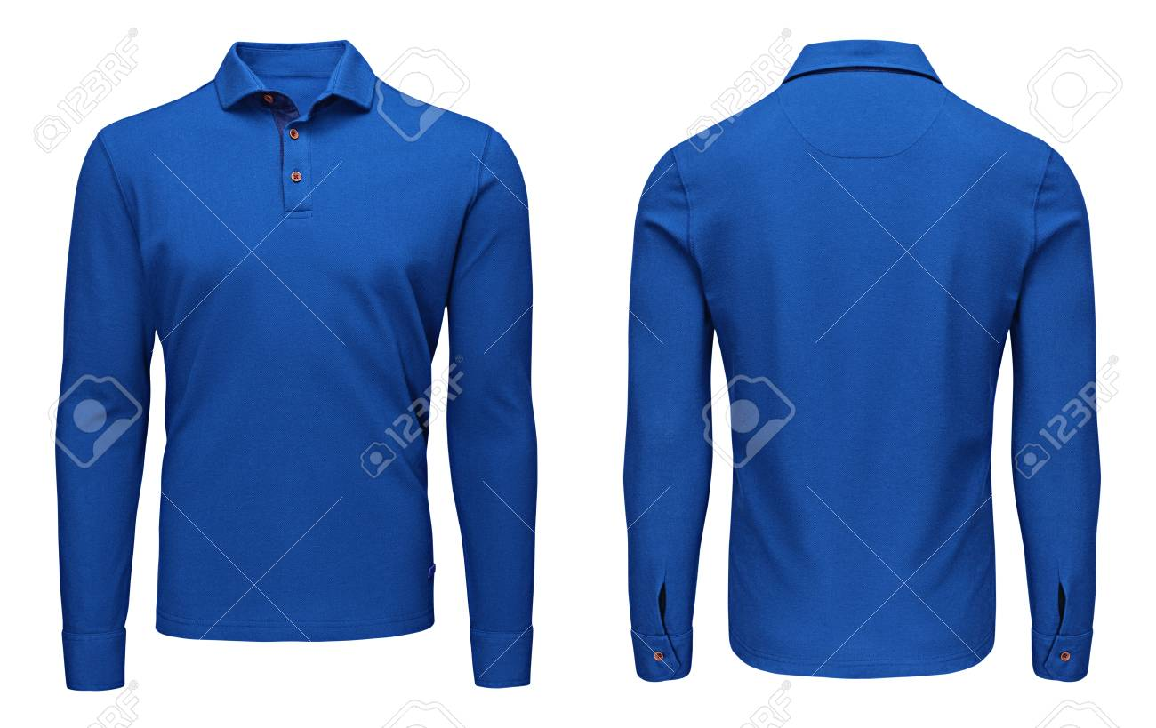 01a648d20e2302 Blank template mens blue polo shirt long sleeve, front and back view,  isolated on