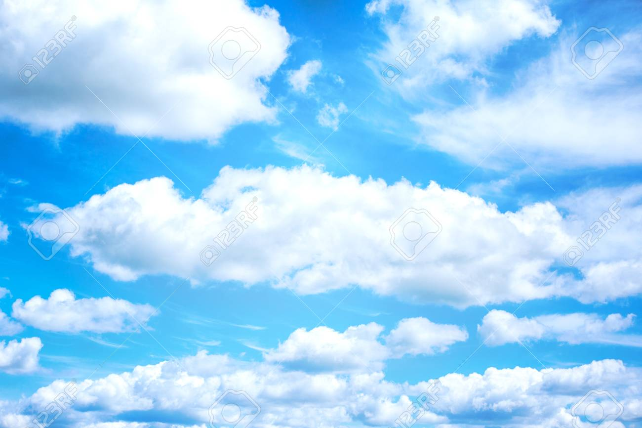 Beautiful Blue Sky And White Clouds On Background Wallpaper Stock