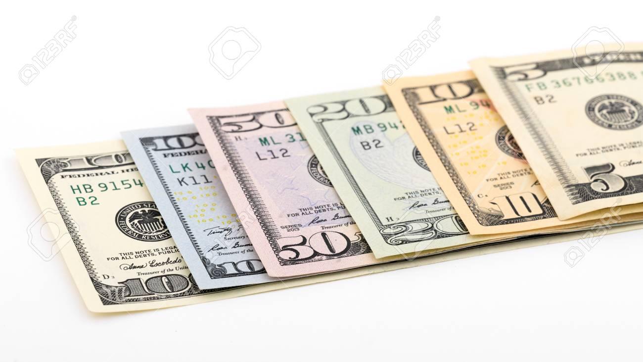 Series American money 5,10, 20, 50, new 100 dollar bill isolated
