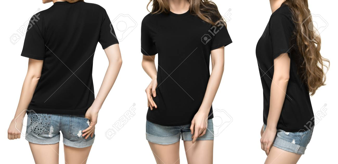 set promo pose girl in blank black tshirt mockup design for print