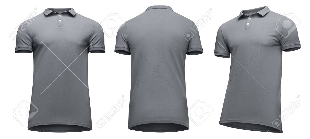 21a1fbfdf43 ... coupon code for blank template men grey polo shirt short sleeve front  and back view half