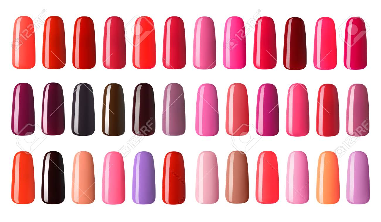 Nail Polish In Different Fashion Color. Colorful Nail Lacquer ...