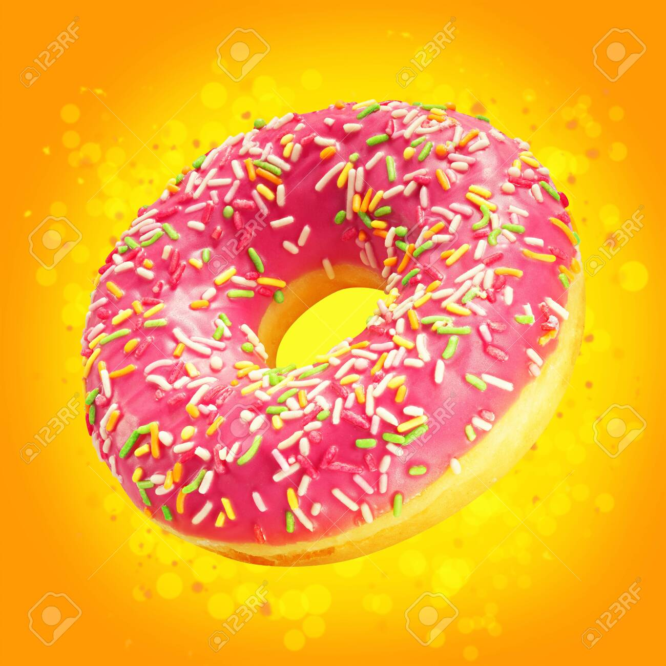 Download Design Mockup Donut Closeup With Frosted Pink Glaze Sweet Food Stock Photo Picture And Royalty Free Image Image 122024471