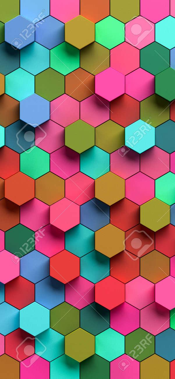 Hexapolygon 3D pattern for smartphones by 3D rendering - 165199454