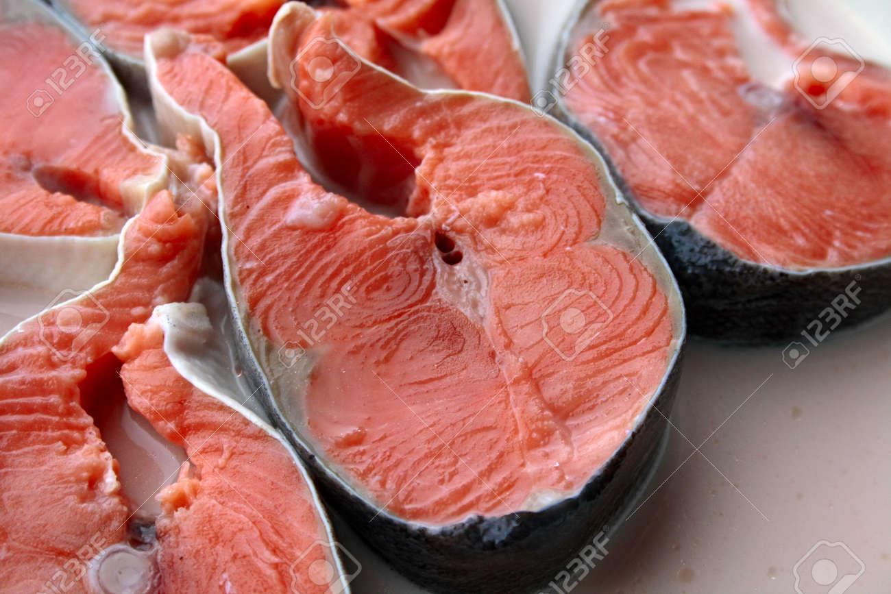 Fresh red salmon in milk before preparation Stock Photo - 790073