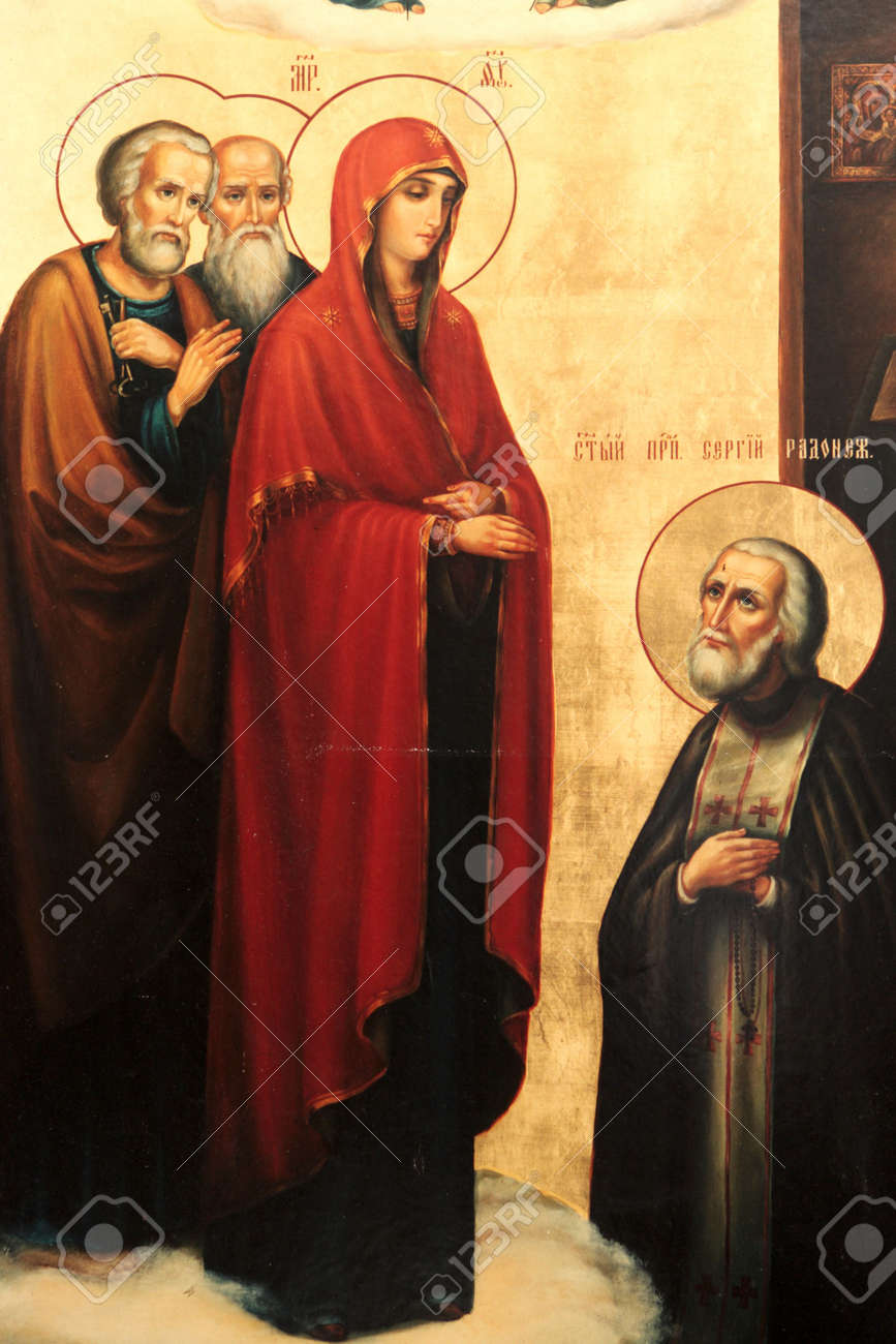 The icon in a rural orthodox church, Russia Stock Photo - 6149765