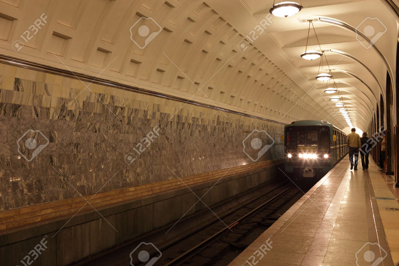The arriving subway train in Moscow, Russia Stock Photo - 9504804