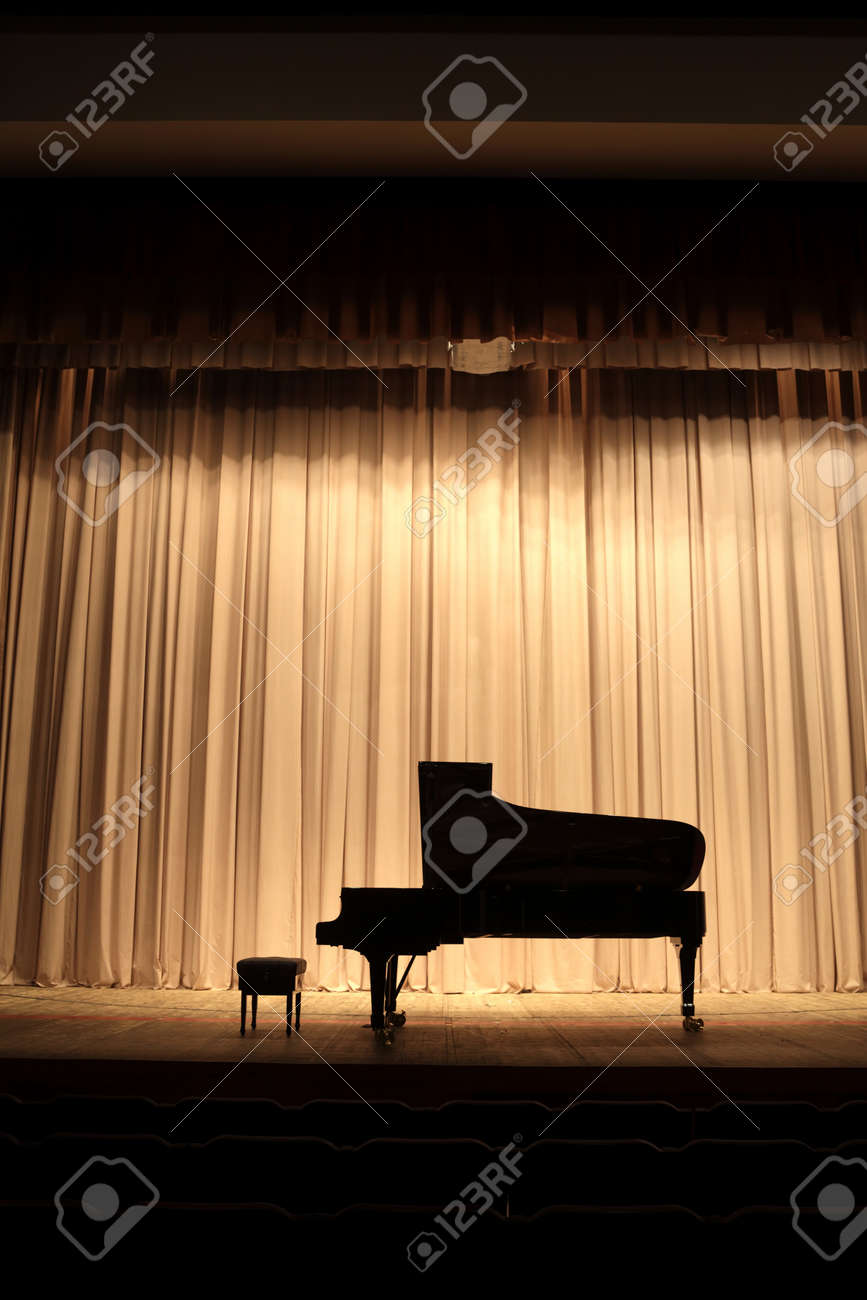 Concert grand piano at theatre stage with brown curtain Stock Photo - 19974183