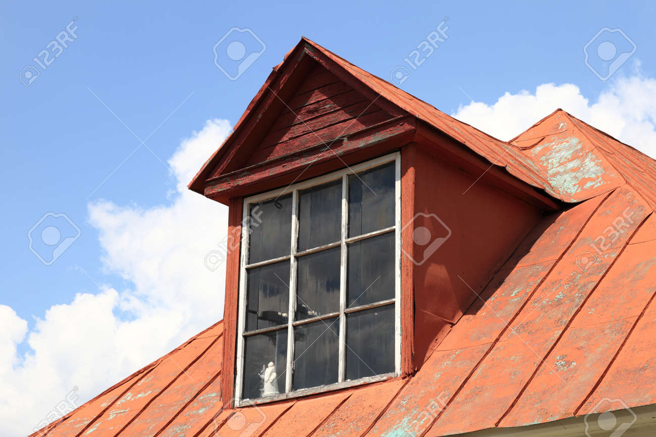 Attic of red house in Kolomna Kremlin, Russia Stock Photo - 21489871