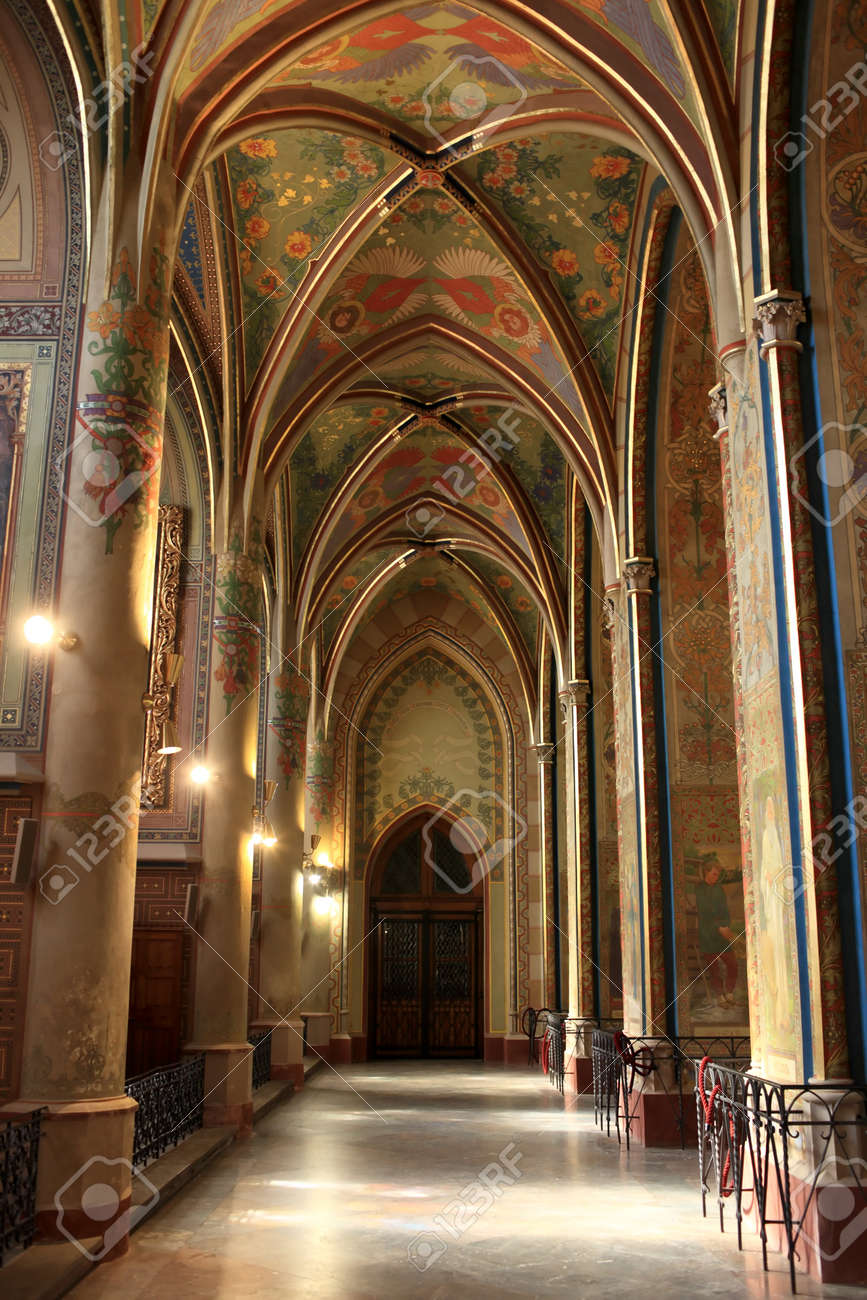 Interior Of Gothic Revival Temple St Peter And Paul In Vysehrad Fortress Prague