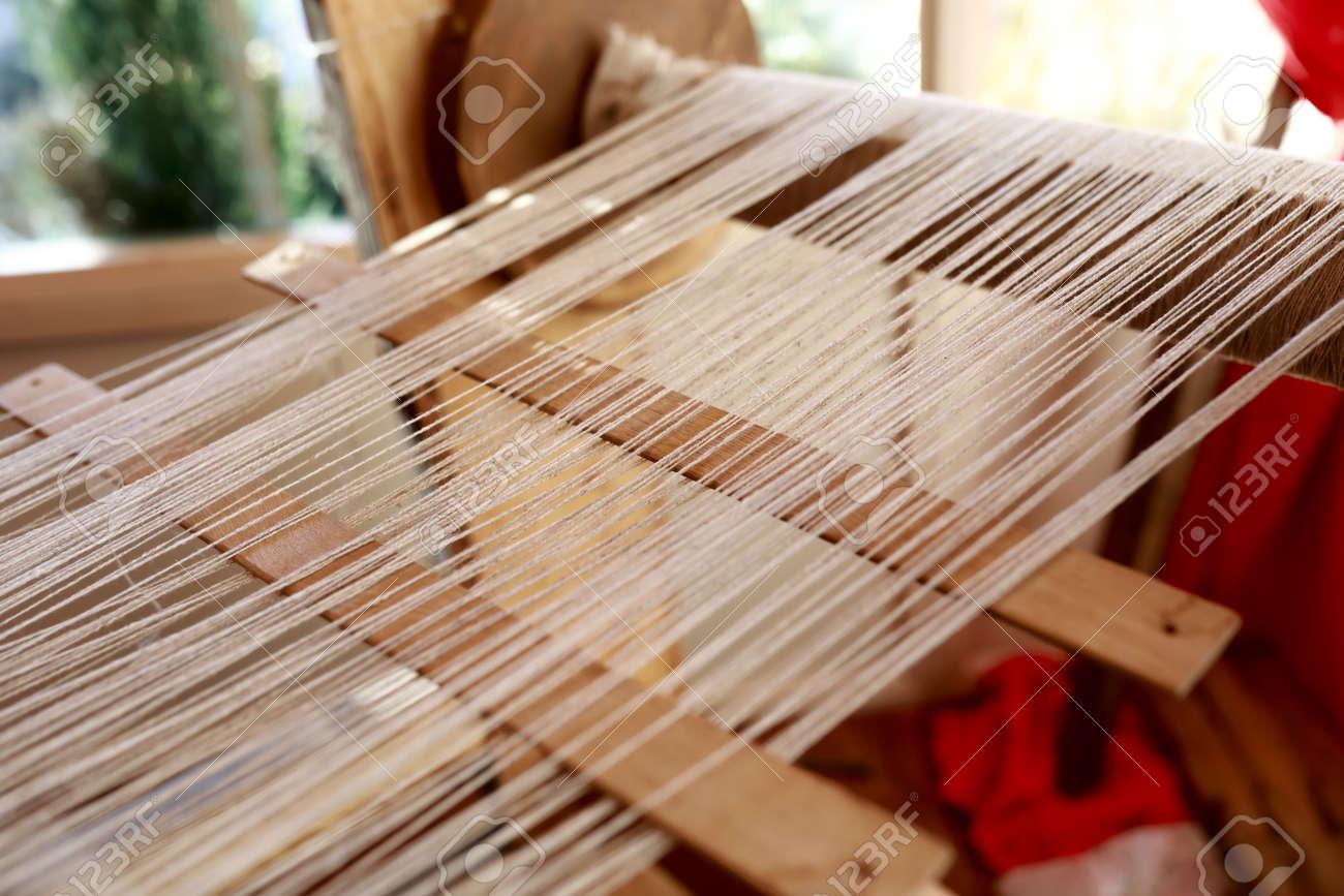 View of vintage loom In workshop, Russia - 142644840