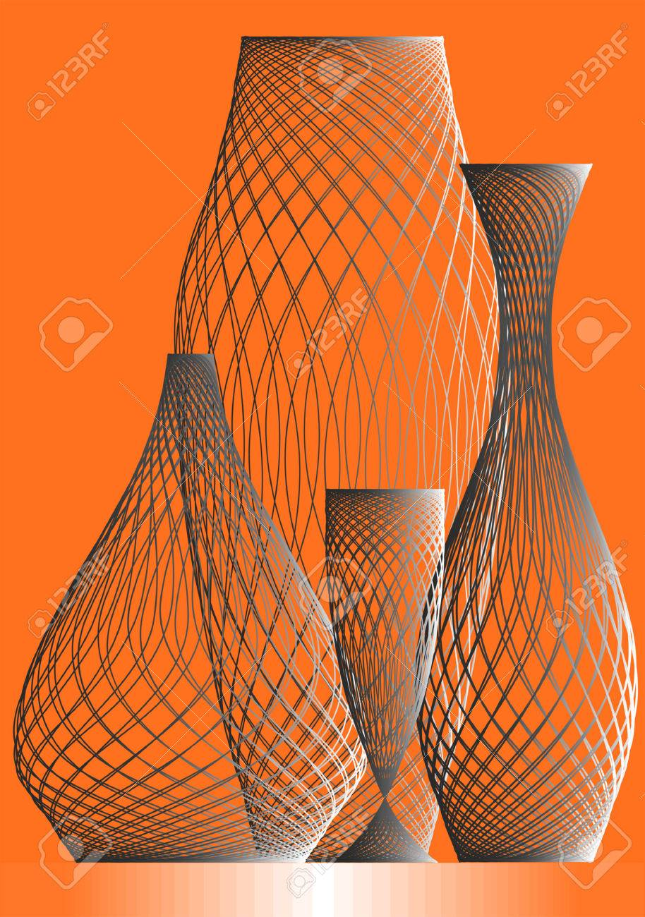 Vases and wine-glasses on a orange background. Stock Vector - 3345294