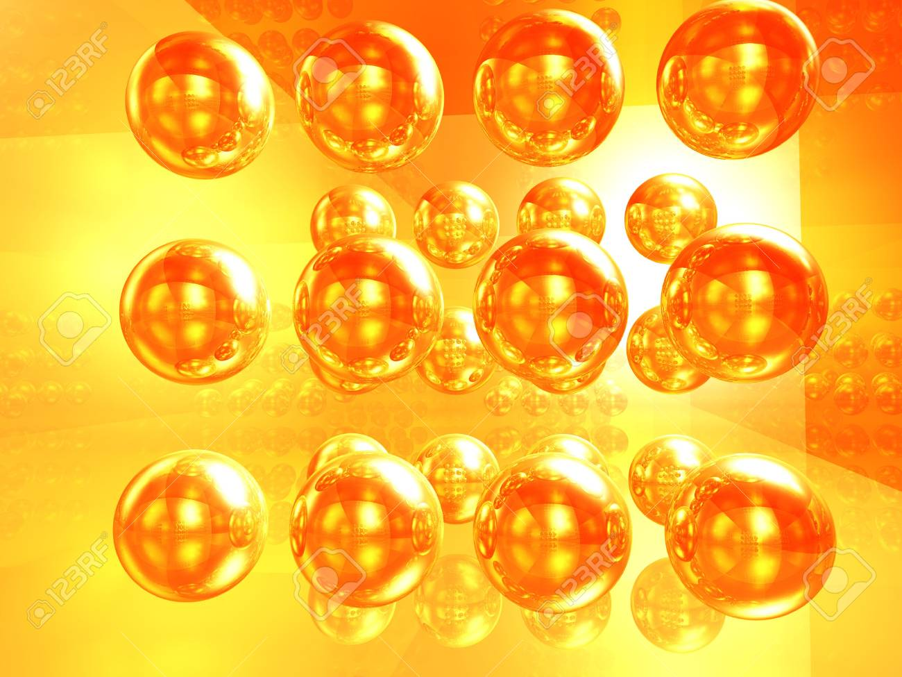 The abstract image, illustration of a set of gold spheres Stock Photo - 5984784
