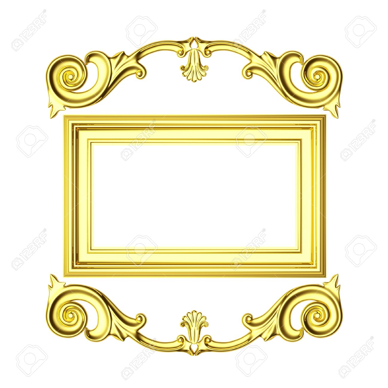 3d Gold Frame, The Sculptural Form On A White Background Stock Photo ...