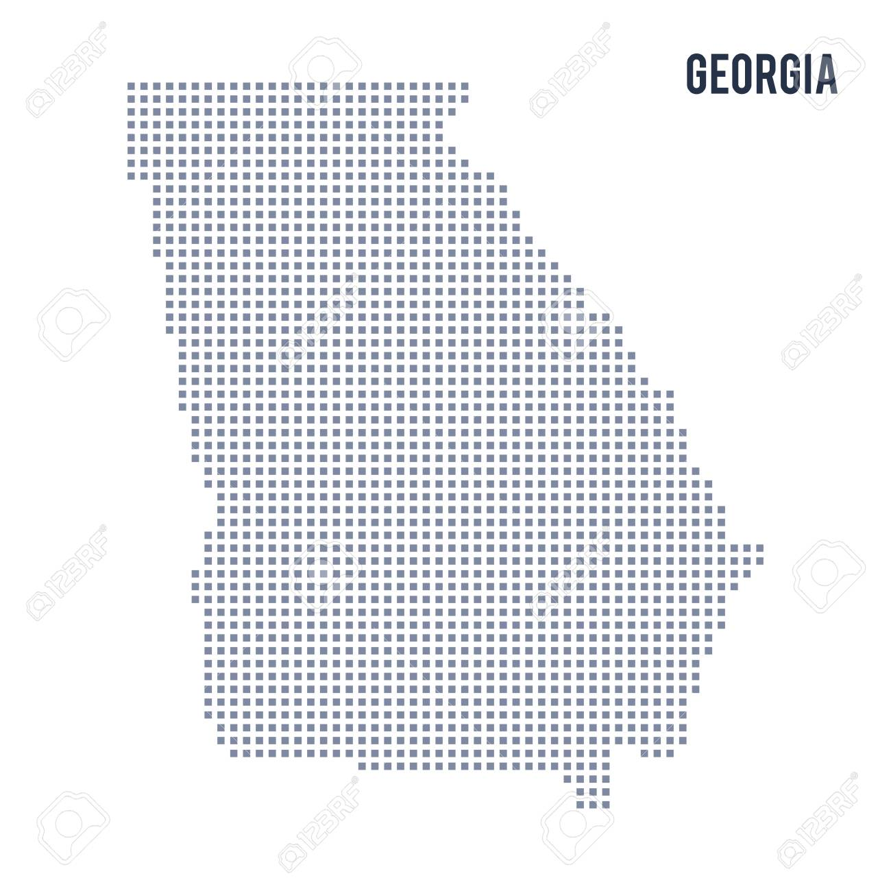 Map Of The State Of Georgia.Vector Pixel Map State Of Georgia Isolated On White Background