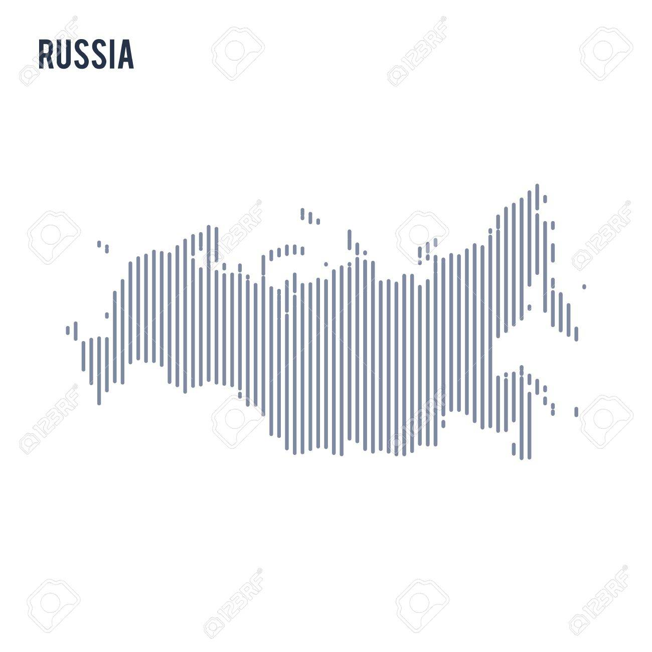 Vector Abstract Hatched Map Of Russian Federation With Vertical ...