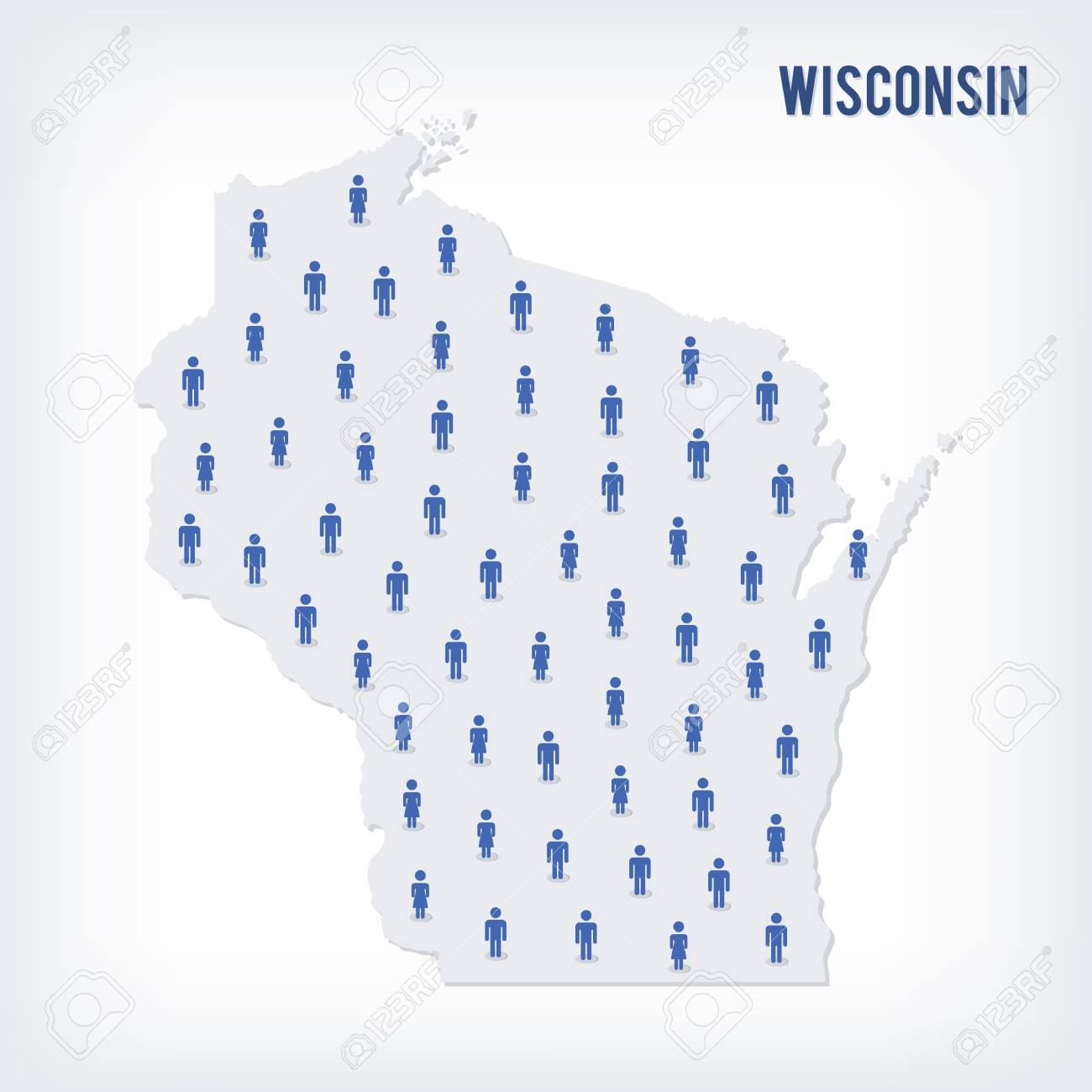 Population Concept Map.Vector People Map Of Of State Of Wisconsin The Concept Of