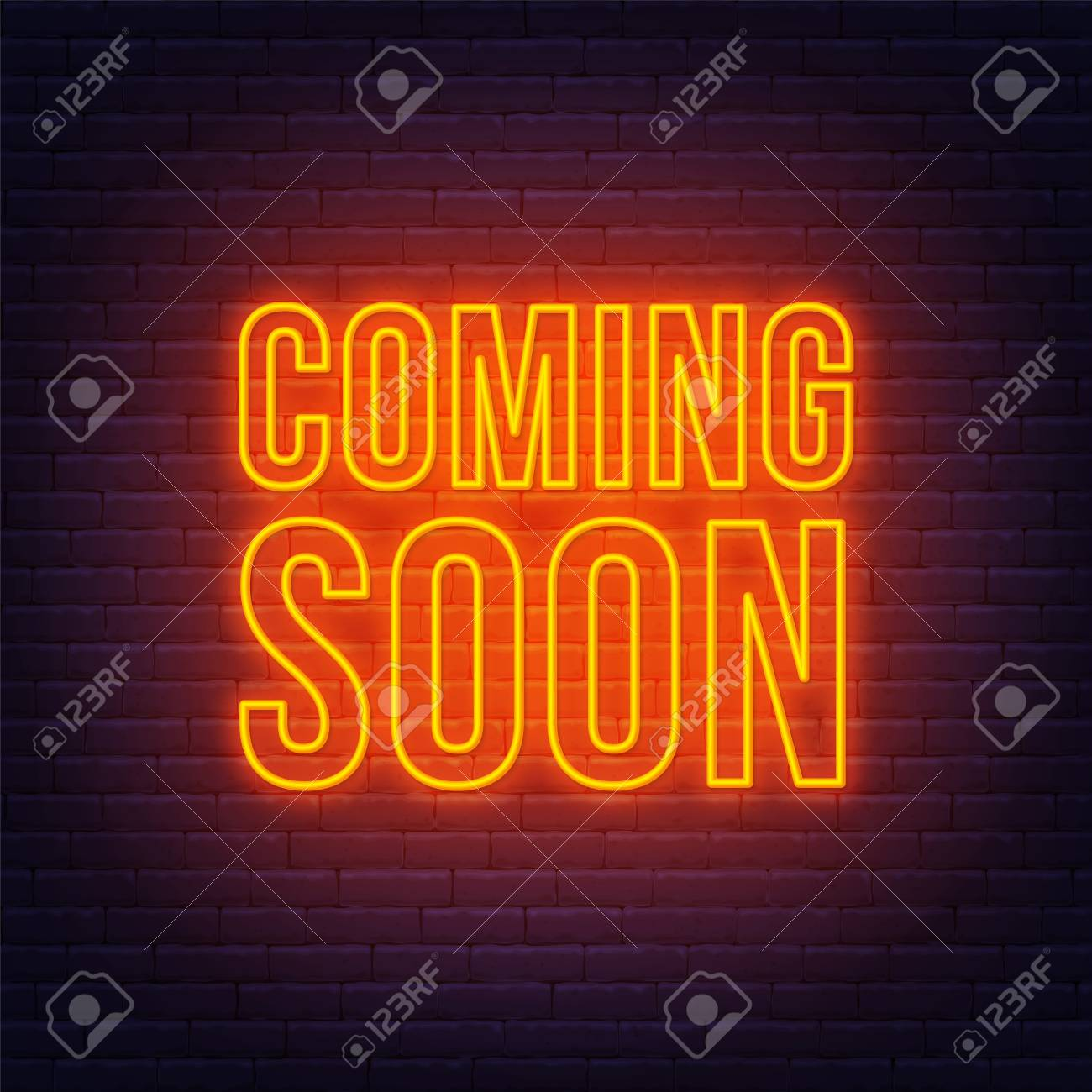 Coming Soon Neon Sign On A Brick Wall Background Royalty Free Cliparts Vectors And Stock Illustration Image 125521489