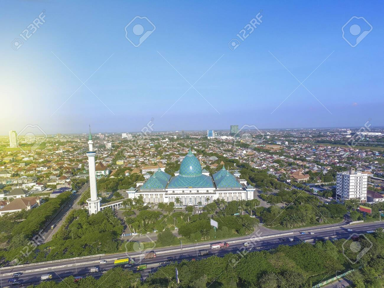 aerial al akbar mosque surabaya is a located in surabaya indonesia stock photo picture and royalty free image image 123567294 123rf com