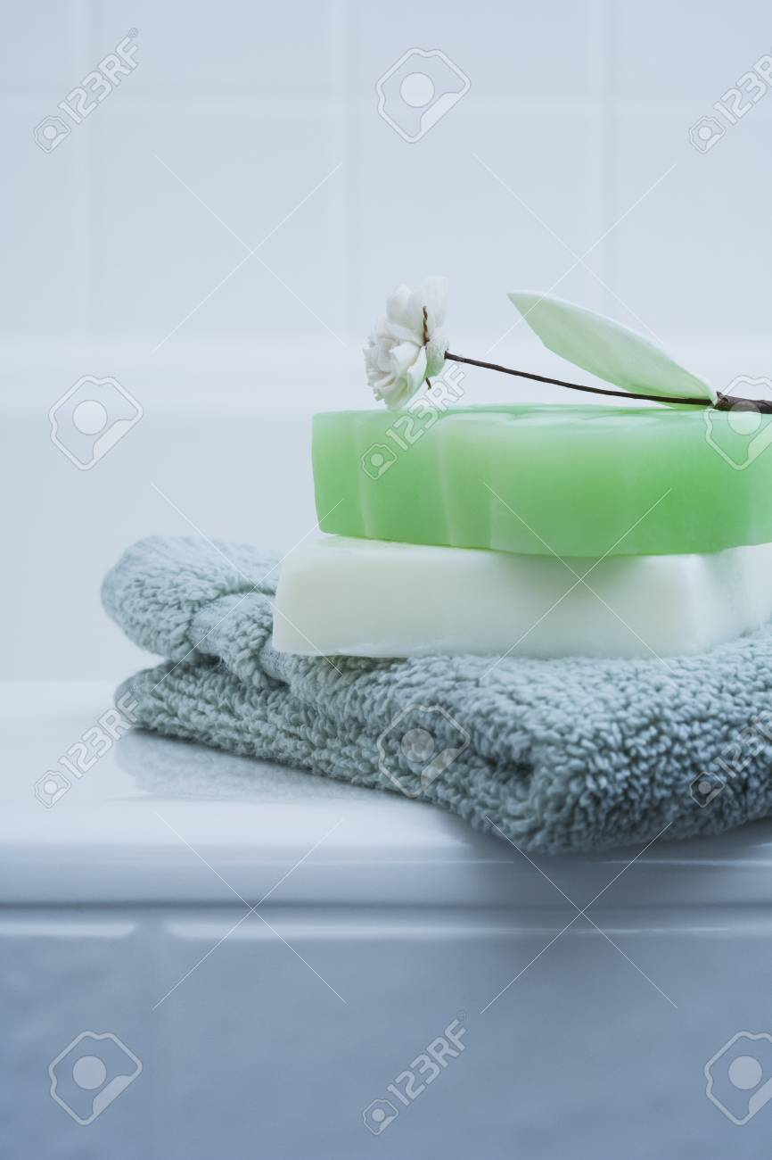 Wash Cloth And Soap On Edge Of Tub Stock Photo, Picture And Royalty ...