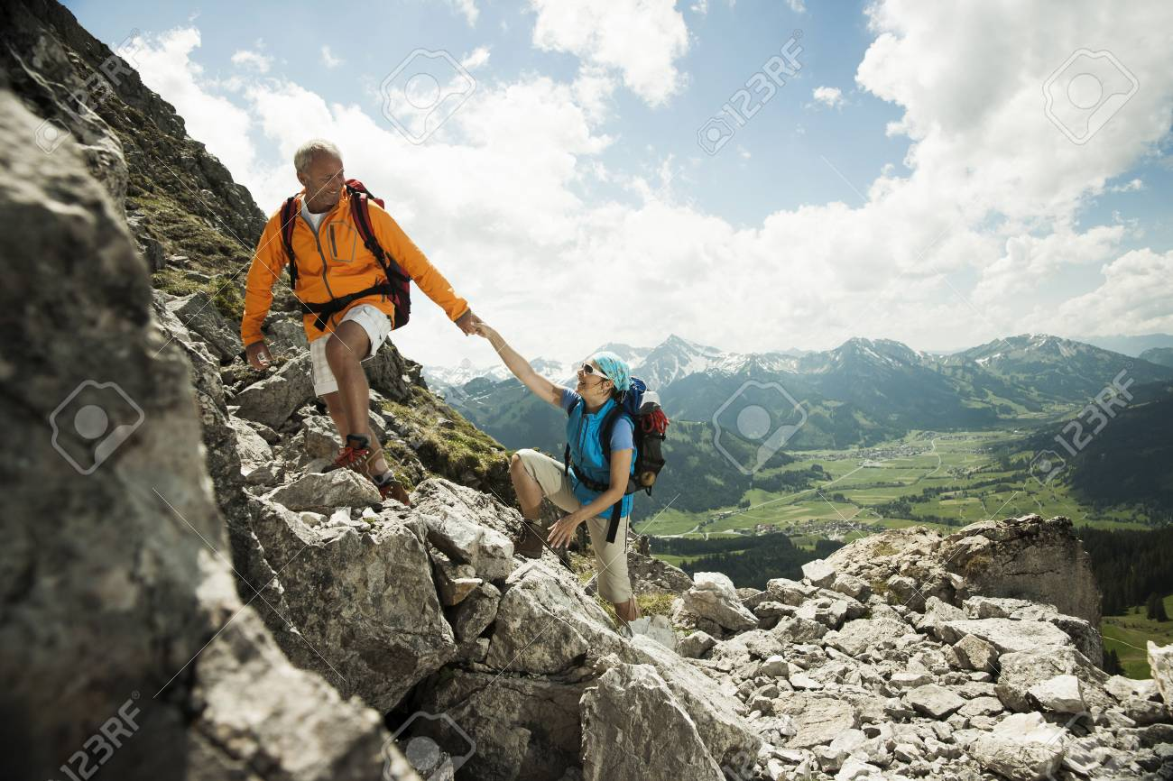 Mature Couple Hiking In Mountains Tannheim Valley Austria Stock