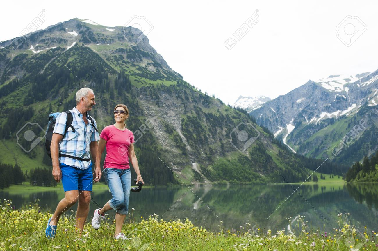 Mature Couple Hiking In Mountains Lake Vilsalpsee Tannheim Valley
