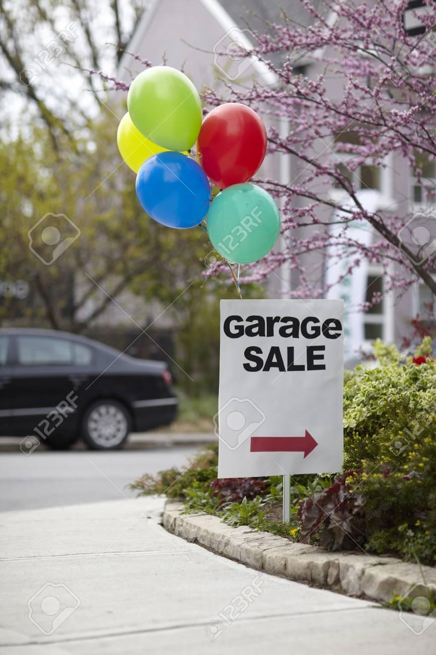Garage Sale Sign With Balloons Toronto Ontario Canada