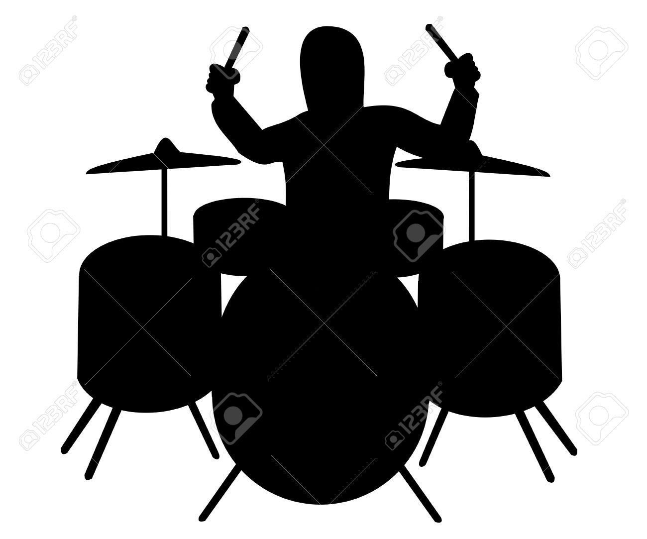 Silhouette of drummer playing White Drum Set Silhouette