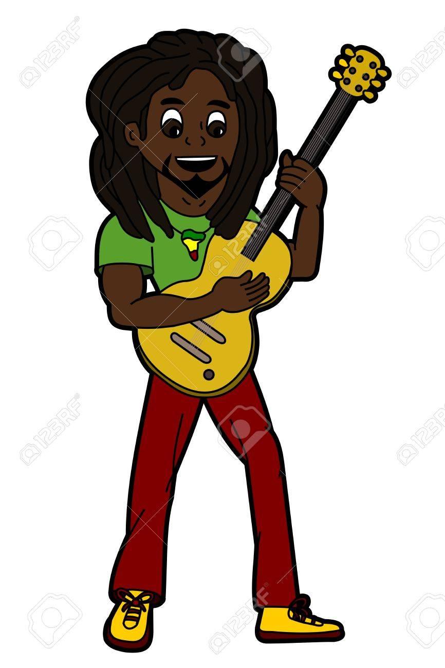 Rasta reggae singer and guitarist isolated on a white background Stock Vector - 21599032