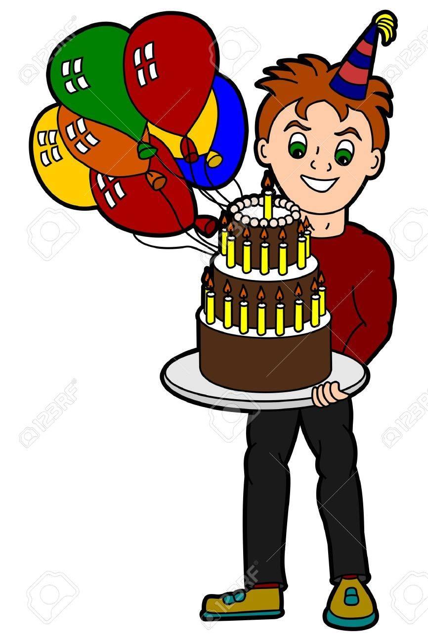 Los Jóvenes Adultos De Dibujos Animados Hombre Con Pastel De Cumpleaños Y Globos