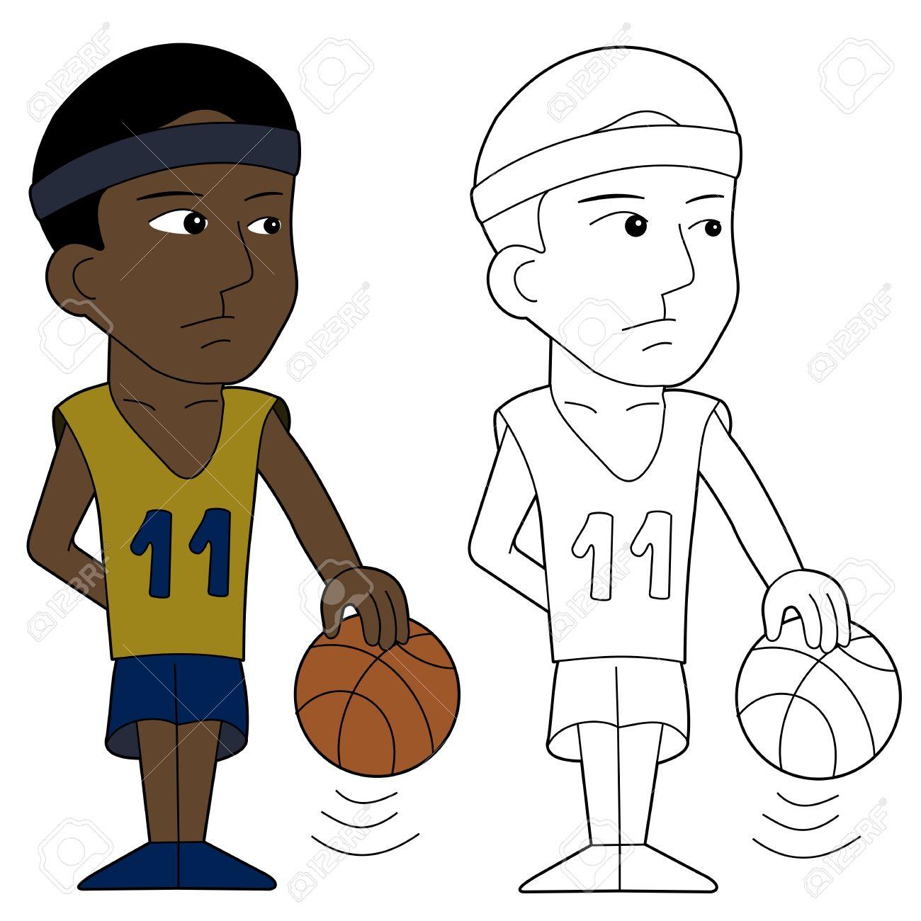 Jugador De Baloncesto Ilustración, Libro Para Colorear Line-art ...