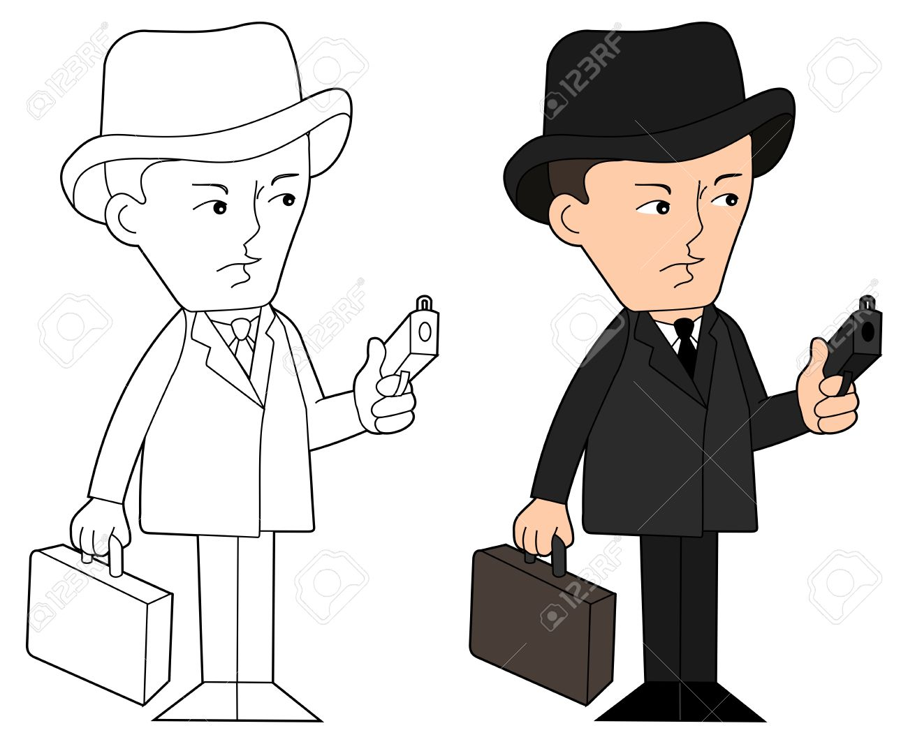 Mobster With Gun And Suitcase, Coloring Book Line-art Royalty Free ...