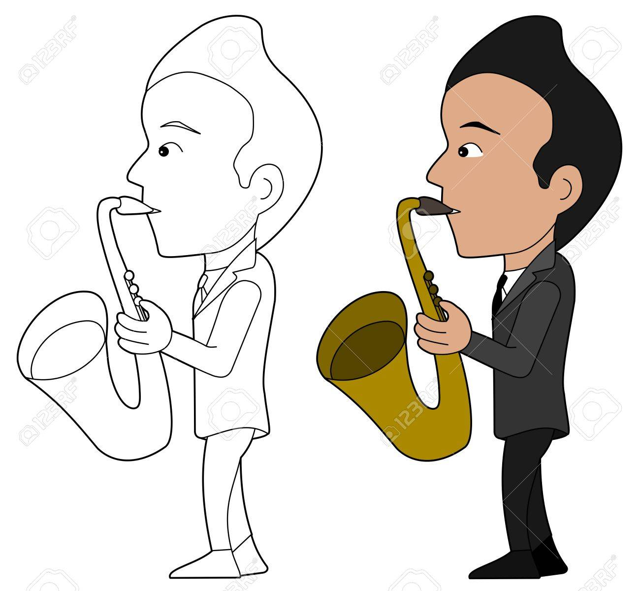Saxofonista Ilustración Libro Para Colorear Line Art