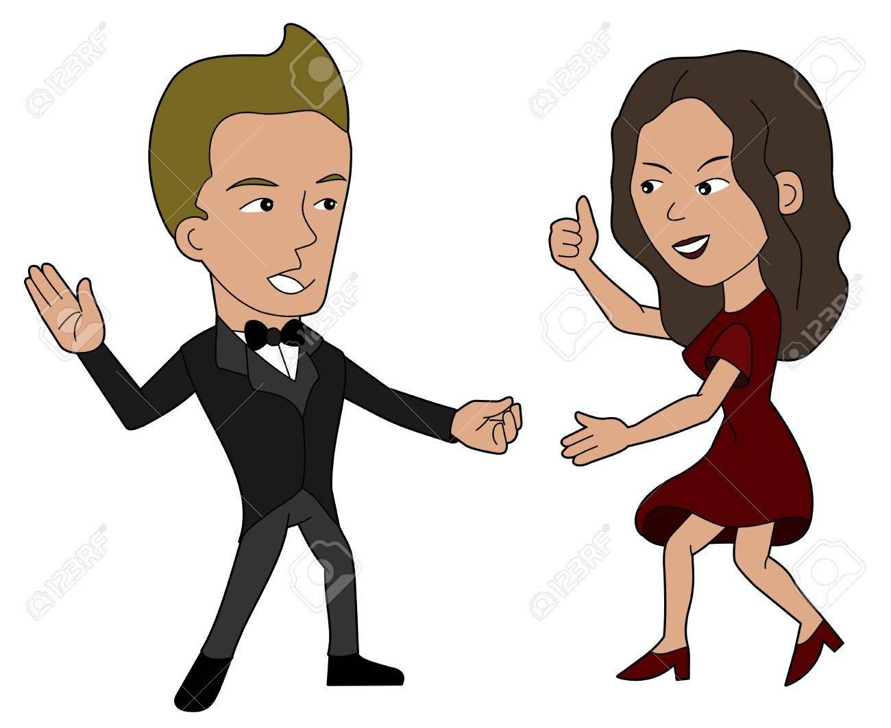 El Hombre Y La Mujer Ilustración Baile Libro Para Colorear