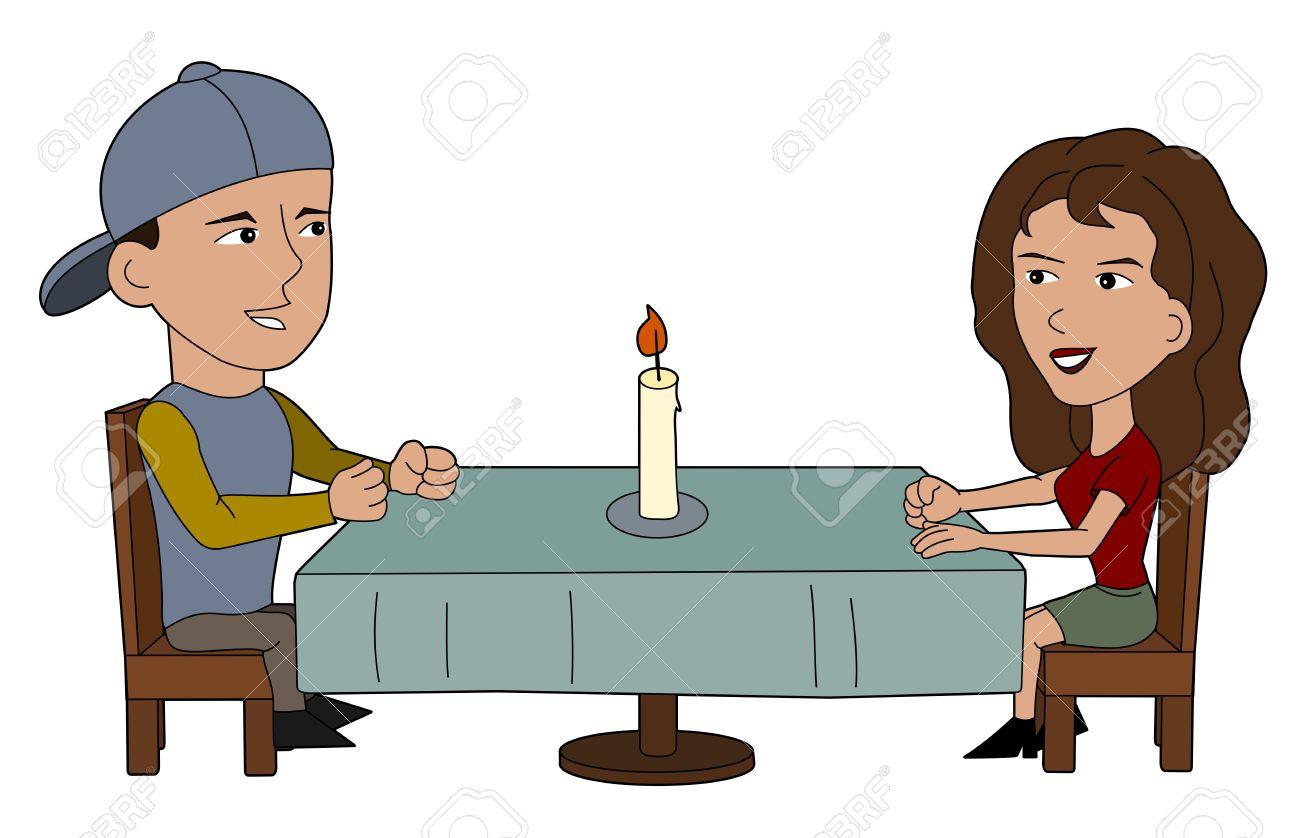 El Hombre Y La Mujer En La Ilustración Restaurante Libro Para