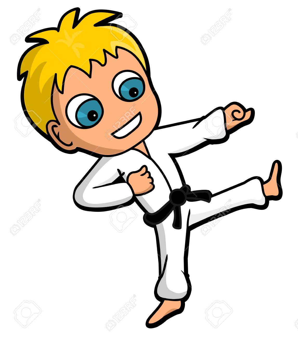 kid character practicing karate kicking and punching, cartoon